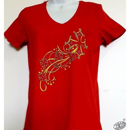 T-shirt Femme Etoile filante croix occitane
