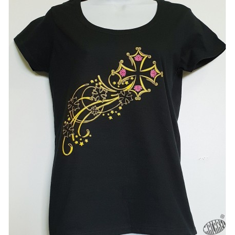 T-shirt Femme Etoile filante croix occitane Col rond coloris noir