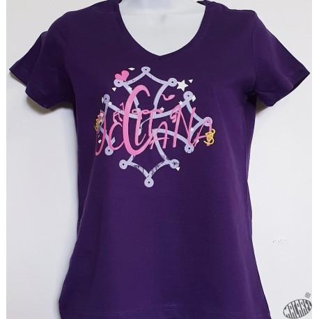 T-shirt Femme Occitana col V coloris violet