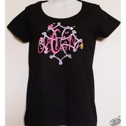 T-shirt Femme Occitana col rond coloris noir motif avec croix occitane  mauve