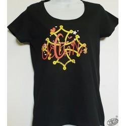 T-shirt Femme Occitana col rond coloris noir motif rouge et jaune
