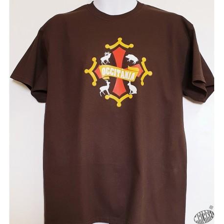 T-shirt Homme  occitan  Chasse coloris chocolat