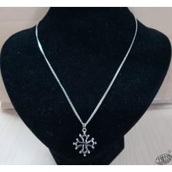 Chaîne 50cm et pendentif croix occitane évidée  2cm argent massif