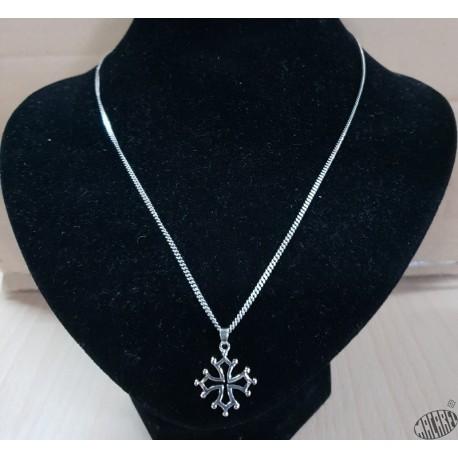 Chaîne 50cm et pendentif croix occitane évidée  2,5cm argent