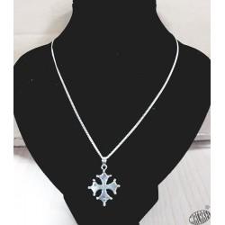 Chaîne 50cm et pendentif croix occitane pleine  2,5cm argent