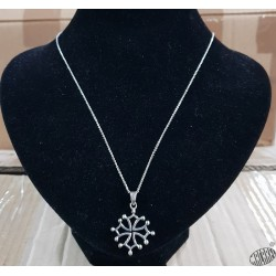 Chaîne 50cm mailles fines et pendentif croix occitane évidée  2,5cm argent