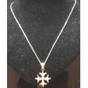 Chaîne 50cm mailles fines et pendentif croix occitane pleine  2,5cm argent