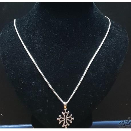 Chaîne argent 55cm classique et pendentif croix occitane évidée  2cm argent