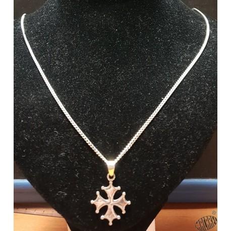 Chaîne argent 55cm classique et pendentif croix occitane pleine  2,5cm argent