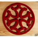 Dessous-de-plat fonte croix occitane cerclée rouge
