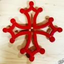 Dessous-de-plat fonte croix occitane ajourée rouge