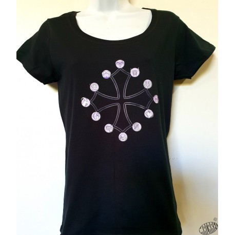 T-shirt Femme croix occitane signes zodiaque