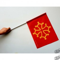 lot 10 drapeaux occitans manche PVC