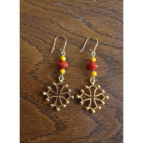 Boucles d'oreilles croix oc 3 perles grand modèle