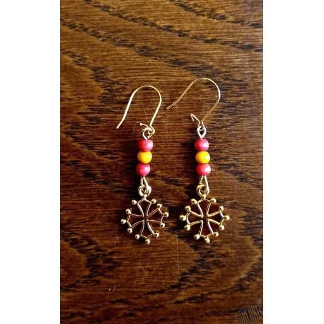 Boucles d'oreilles croix occitane 3 perles petit modèle