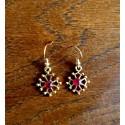Boucles d'oreilles croix occitane et perle Swarovski