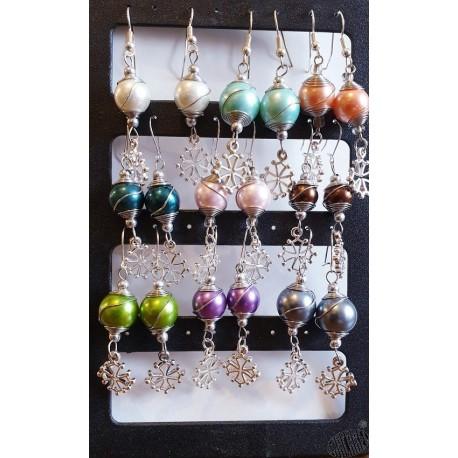 Boucles d'oreilles croix occitane et perle métallisée