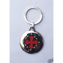 Porte-clés rond argenté brillant croix occitane