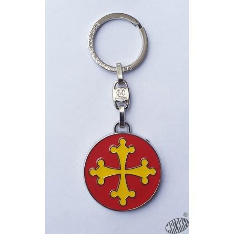 Porte-clés métal rond croix occitane