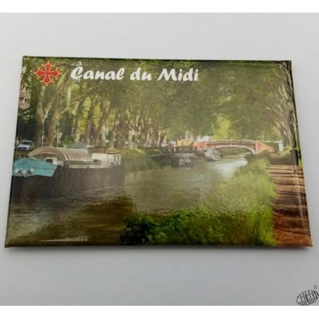 Magnet Canal du Midi croix occitane sans et or
