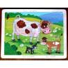 Puzzle bois en occitan famille  vache