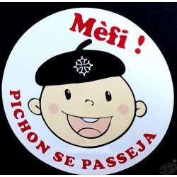 Autocollant en occitan Bébé à bord (Mèfi ! Pichon se passeja !)