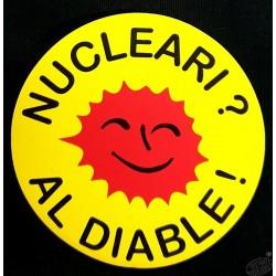 Autocollant en occitan Nucleari al diable ! (Le nucléaire ? Au diable !)
