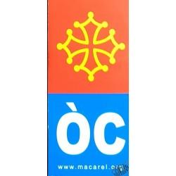 Autocollant plaque moto croix occitane et OC