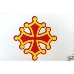 Autocollant Croix occitane sang et or 9cm