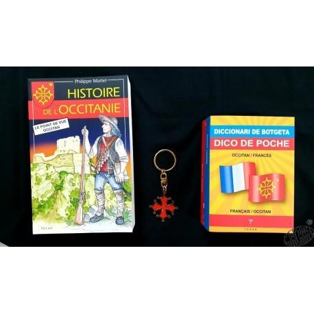 Lot Histoire Occitanie + Dico de poche + porte-clés croix occitane