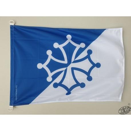Drapeau supporter croix occitane bleu et blanc