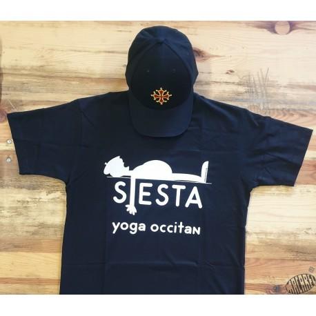 Lot T-shirt Sièsta yoga occitan et casquette US noire croix occitane