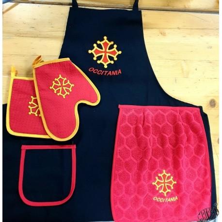 Lot tablier cuisine croix occitane avec torchon + gant + manique