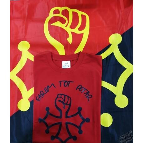Lot t-shirt Farem tot petar (en occitan : on va tout casser) et drapeau Farem tot petar
