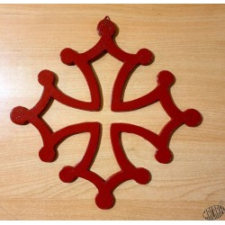 Croix occitane murale fonte rouge 30cm