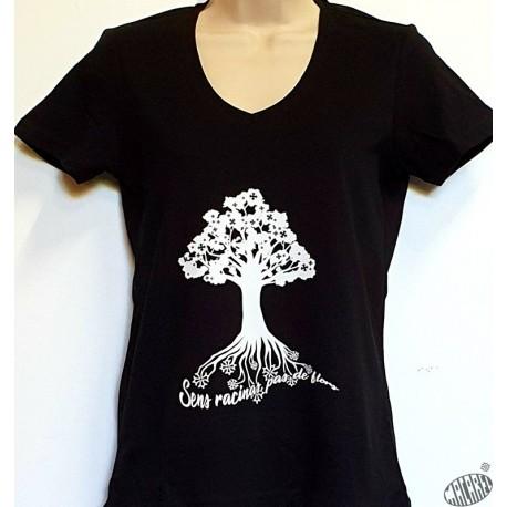 T-shirt Femme Arbre coloris marine, col rond.