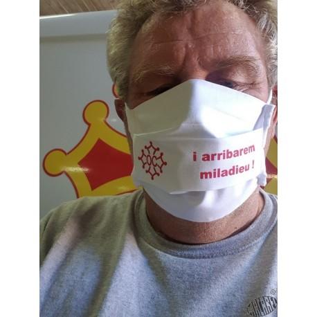 """Masque de protection coton réutilisable texte en occitan """" I arribarem miladieu !"""""""