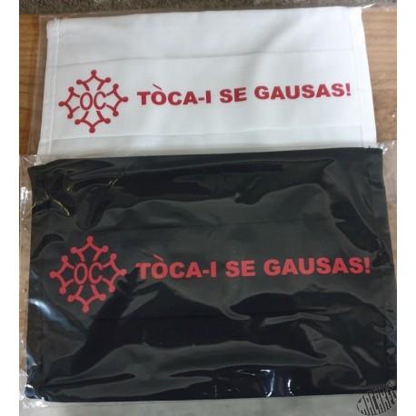 Masque de protection en occitan Tòca-i se gausas (Touches-y si tu oses !)