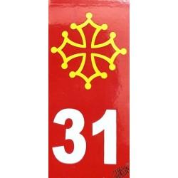 Auto-collant plaque immatriculation 31 rouge et croix occitane