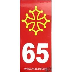 Auto-collant plaque immatriculation 65 rouge et croix occitane