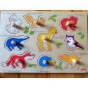 Puzzle encastrement 9 éléments Bébés animaux de la forêt avec noms en occitan