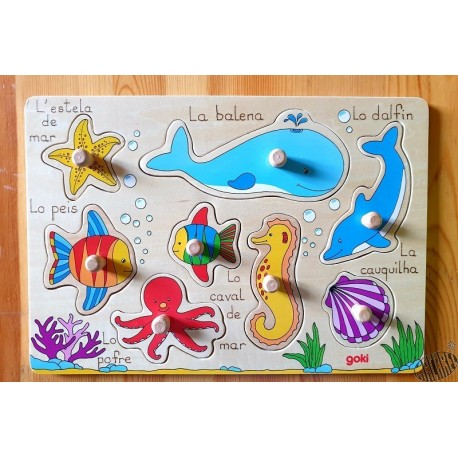 Puzzle bois à encastrement 8 pièces Les animaux de la mer en occitan