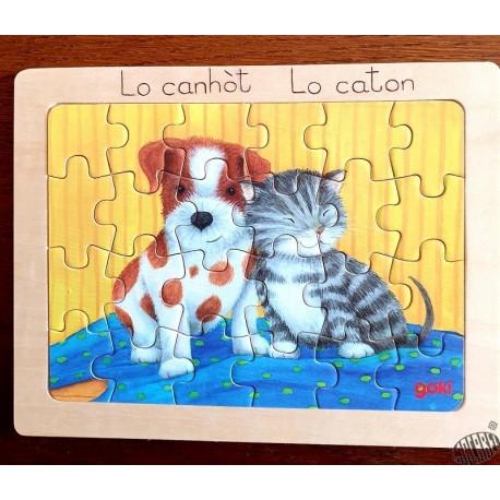 Puzzle bois 24 pièces Bébés animaux et leurs amis , légendes en occitan