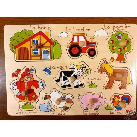 Puzzle bois à encastrement 9 éléments La ferme en occitan