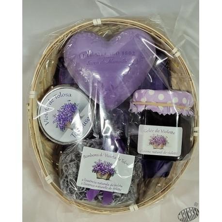 Corbeille ovale garnie d'articles à la violette