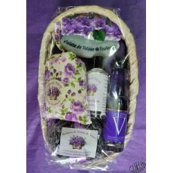 Corbeille ovale garnie d'articles à la violette, modèle 2