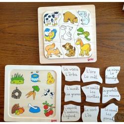 Puzzle bois images cachées Que mangent-ils ? en occitan