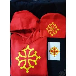 Lot sweat et bonnet rouges avec croix occitane