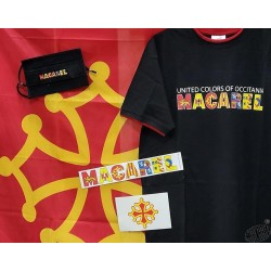 Lot fan de Macarel avec T-shirt,drapeau occitan,masque protec tion et 2 auto-collants