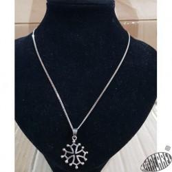 Parure chaîne 60cm argent et pendentif croix occitane argent 2,5cm